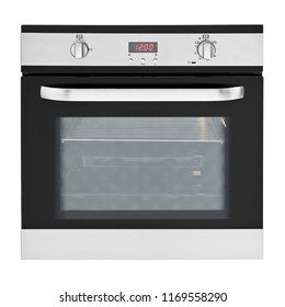 Built-In Gas Oven Isolated on White Background. Front View of Stainless Steel Single Wall Oven with a Large-Capacity Warming Drawer. Pyrolytic Oven. Range Cooker. Kitchen and Domestic Appliances