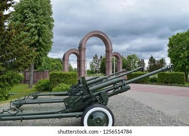BUINICHI VILLAGE, MOGILEV REGION, BELARUS - JUNE 12, 2016: Howitzers in Buynichskoe pole memorial complex.