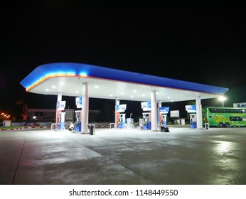 Buiram,Thailand - July 23 2018 : People are take a rest and put some gas at gasstation Buriram,Thailand.