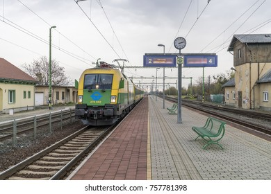 Buk, Hungary - November 11, 2017: Railwaystation of Buk. Buk  has a reputation for being a very popular holiday destination in Hungary and one of the major spa and wellnes spots in Central Europe.