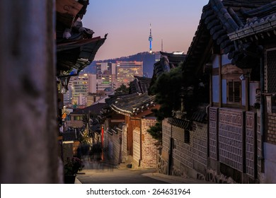 The Bukchon Hanok historic district in Seoul, South Korea.