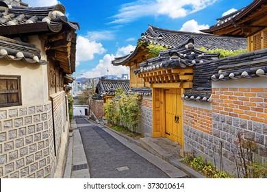 Bukchon Hanok Historic District at Seoul , South Korea