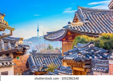 Bukchon hanok village on a beautiful day in Seoul, South Korea