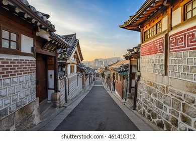 Bukchon Hanok Village and Seoul city skyline when sunrise, Seoul, South Korea