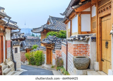Bukchon Hanok Village in Seoul, South Korea. Historic District at Seoul, Traditional Korean style architecture.