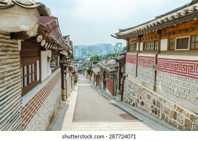 Bukchon hanok village in summer at historical district seoul south korea