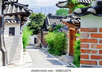 Bukchon Hanok Village, Traditional Korean style architecture in Seoul, South Korea