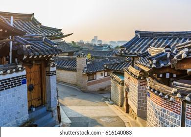 Bukchon hanok village traditional korean style architecture in Seoul City, Seoul, South Korea.