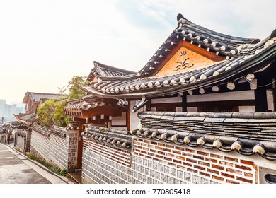 Bukchon Hanok Village Traditional Korean style architecture house at Historic district, Seoul, South Korea