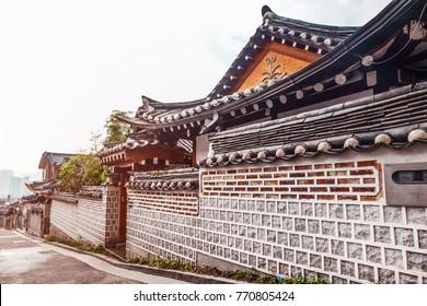 Bukchon Hanok Village Traditional Korean style architecture house at Historic district, Seoul, South Korea