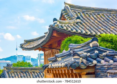 Bukchon Hanok Village is a traditional Korean building. In Seoul, South Korea