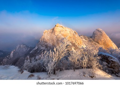 Bukhansan mountain in Winter landscape On a snow covered hill at Bukhansan National Park in Seoul, South Korea