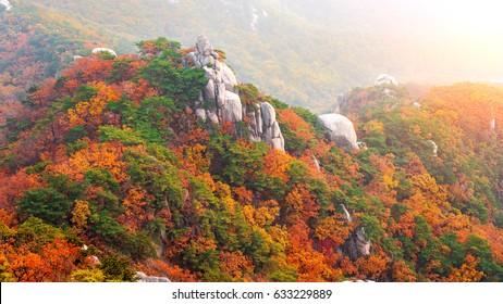 Bukhansan mountains in autumn,Seoul in South Korea.