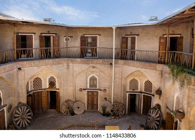 "Bukhara, Uzbekistan - 16 June, 2018: The decor of the patio of the guest house ""Amulet"", the former madrasah 19th century. Asian oriental style."