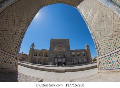 Bukhara. Uzbekistan. 4th August 2018. Facade of Abdulaziz-Khan Madrasah from Ulugh Beg Madrasah.