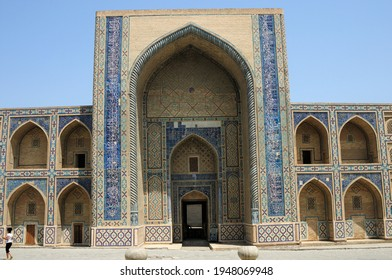 Bukhara, Uzbekistan - July 10, 2012: Mirza Uluğ Bey Madrasa was built in the 15th century. The tile decorations of the madrasa are remarkable.