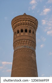 BUKHARA, UZBEKISTAN: The Kalyan minaret is a minaret of the Po-i-Kalyan mosque complex in Bukhara, Uzbekistan and one of the most prominent landmarks in the city.