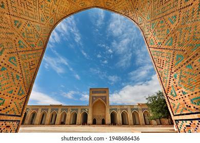 BUKHARA, UZBEKISTAN - MAY 27, 2018: Courtyard of the Poi Kalon Mosque in Bukhara, Uzbekistan