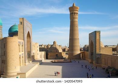 Bukhara, Uzbekistan - May 27, 2019: Ancient religious buildings in Bukhara