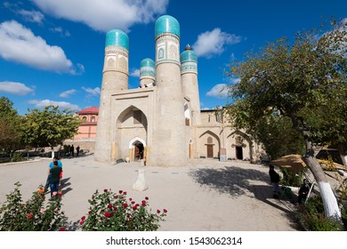 Bukhara / Uzbekistan - October 13 2019. Chor Minor or Madrasah of Khalif Niyaz-kul in a sunny day. Bukhara have always been a center of trade, since the Silk Road times.