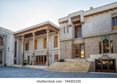 BUKHARA, UZBEKISTAN - OCTOBER 19, 2016: Two hotels in the city center next to Lyabi Khauz