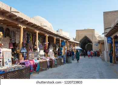 Bukhara, Uzbekistan - Sep 02 2018: Street at Bukhara old town in Bukhara, Uzbekistan. Bukhara old town is Unesco World Heritage Site.