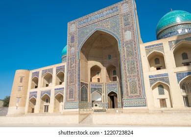 Bukhara, Uzbekistan - Sep 02 2018: Miri Arab Madrasa in Bukhara, Uzbekistan. it is a part of the World Heritage Site Historic Centre of Bukhara.