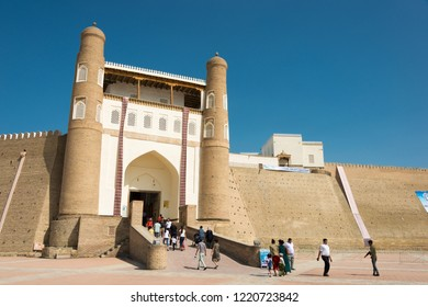 Bukhara, Uzbekistan - Sep 02 2018: Ark Fortress in Bukhara, Uzbekistan. it is a part of the World Heritage Site Historic Centre of Bukhara.