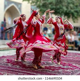 Bukhara, Uzbekistan - September 16,2013: Uzbek traditional dance of girls