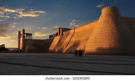 Bukhara, Uzbekistan-June 02, 2012: the massive ark fortress is an ancient citadel in Bukhara, the stronghold of the last emirs. On one of the walls of the Arch once hung a large leather whip (Kamcha)