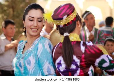 Bukhara/Uzbekistan- 02/12/2019 Uzbekistan women do traditional dance