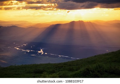 Bukhtarma River valley at sunset, Eastern Kazakhstan