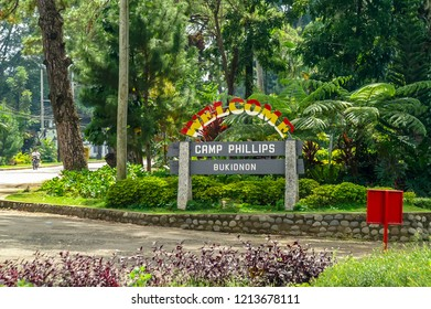 "Bukidnon, Mindanao, Philippines - November 14 2009: Welcome sign ""Camp Phillips"", a US owned estate for growing pineapples"