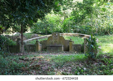 BUKIT BROWN CEMETERY, SINGAPORE, OCTOBER, 2016: unidentified Chinese tomb at Bukit Brown Cemetery in Singapore