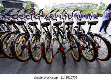 Bukit Jalil, MALAYSIA - AUGUST 19: oBike bikes are placed in line on August 19, 2017 in Bukit Jalil Stadium. oBike is a stationless bicycle-sharing system with built-in lock and GPS system.