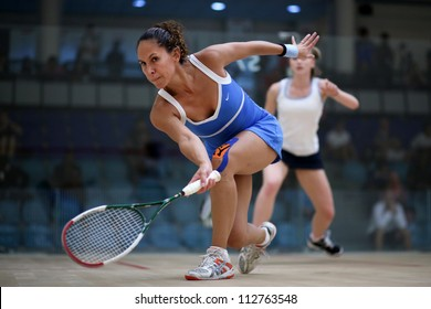BUKIT JALIL, MALAYSIA - SEPTEMBER 11: Emily Whitlock (white) defeats Samantha Teran at the CIMB Malaysian Open Squash Championship 2012 on September 11, 2012 at the National Squash Centre, Malaysia.