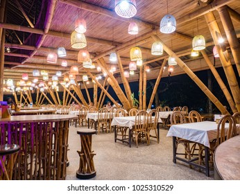 Bukit Lawang, Indonesia - February 11 2018: Dinner at night in Kapal Bambu (Bamboo Ship) Restaurant. At night the restaurant less crowded.