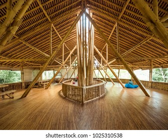 Bukit Lawang, Indonesia - February 11 2018: Situation in Kapal Bambu Restaurant in second floor when visitor can take a rest here and enjoy the view of Bohorok River