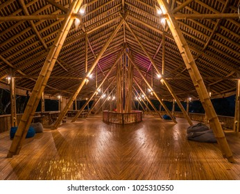 Bukit Lawang, Indonesia - February 11 2018: Situation at night in Kapal Bambu (Bamboo Ship) Restaurant in second floor with no people