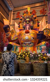 Bukit Mertajam, Penang, Malaysia - August 2018 - The 'Dai She Ye' paper effigy in Penang during the Hungry Ghost Festival