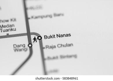Bukit Nanas Station. Kuala Lumpur Metro map.