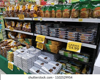Bukit Tinggi, Klang - Malaysia, 26 May 2018 : Assorted packages of Dates fruit display for sell in the supermarket shelf.