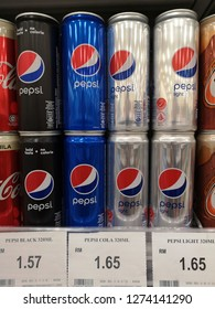 Bukit Tinggi Klang, Malaysia - 29 December 2018 : Varieties design of Pepsi cola on supermarket shelf. Pepsi is a carbonated soft drink that is produced and manufactured by PepsiCo.