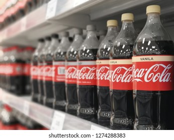 Bukit Tinggi Klang, Malaysia - 29 December 2018 : Coca-Cola carbonated soft drink bottle's in the store supermarket.Coca-Cola or Coke is a carbonated soft drink produced by The Coca-Cola Company.