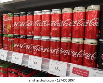 Bukit Tinggi Klang, Malaysia - 29 December 2018 : Coca-Cola carbonated soft drink cans on store supermarket shelf. Coca-Cola or Coke is a carbonated soft drink produced by The Coca-Cola Company.
