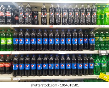 Bukit Tinggi - Klang , Malaysia - 4 April 2018 : Pepsi drinks in the bottle on the supermarket shelf. Pepsi is a carbonated soft drink that is produced and manufactured by PepsiCo.Mobile photoghpy.