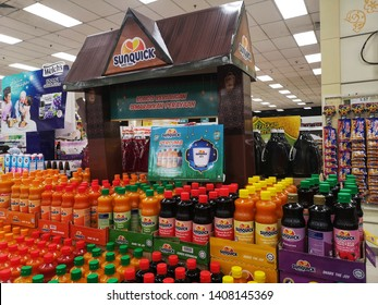 Bukit Tinggi, Malaysia - 19 May 2019 : Various bottles of SUNQUICK fruits juice on the shelves in a supermarket with selective focus.