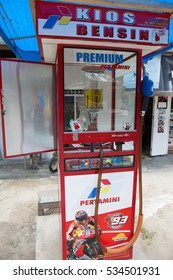 BUKITTINGGI, WEST SUMATRA, INDONESIA, AUGUST 2016:simple lcal gas station at Bukittinggi, West Sumatra, Indonesia