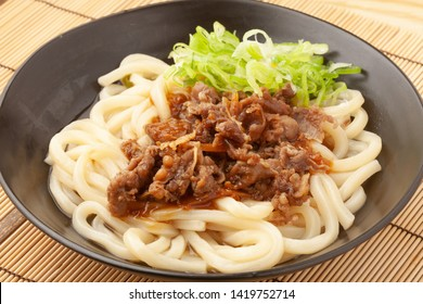 Bukkake udon with beef simmered on top