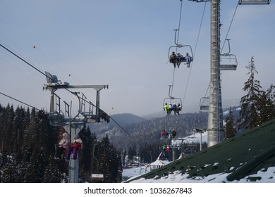 BUKOVEL, UKRAINE - FEBRUARY 25, 2018: The popular ski resort of Bukovel in the winter. Ukrainian Carpathians. Winter seasonal view.